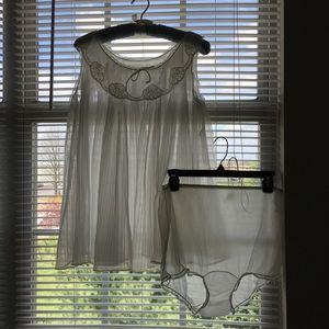 Vtg Rogers Bridal White babydoll Nightgown & Panty